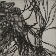 Induction to violence (dry point-engraving)