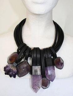 Monies Leather and Amethyst Multi Drop Necklace  image 3                                                                                                                                                     More