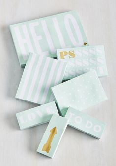 Adhesive Said, She Said Sticky Note Set. Word on the street is, your collection of mint sticky notes by kate spade new york is unparalleled! #multi #modcloth