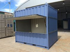 I really like the idea of cutting the side out of this shipping container and using it as a kiosk. Something like this would be nice if you have a fruit stand… Cafe Shop Design, Small Cafe Design, Kiosk Design, Cafe Interior Design, Container Coffee Shop, Container Cafe, Container House Design, Small Coffee Shop, Coffee Store