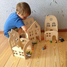 Купить Конструктор Городок - комбинированный, Конструктор, конструктор из дерева, деревянный конструктор, деревянные игрушки