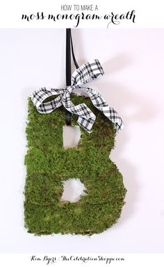 Easy Moss Monogram Pretty Fall Wreath Decor DIY Tutorial