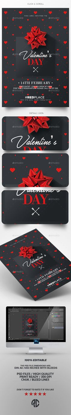 Valentine's Day Invitation Card Template PSD
