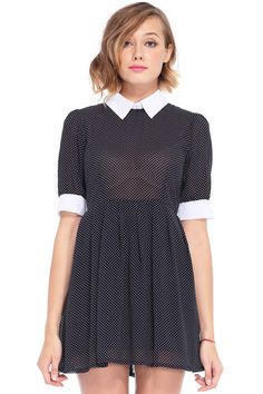 Dots Printed Dark Blue Dress