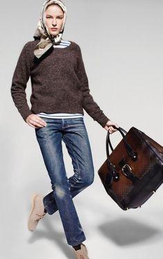 jeans + silk scarf + desert boots