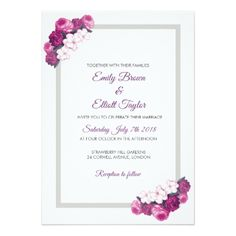 Wedding Invitation In Rectangle Frame with Flowers - wedding invitations cards custom invitation card design marriage party Wedding Invitation Card Template, Flower Invitation, Simple Wedding Invitations, Invitation Card Design, Elegant Wedding Invitations, Custom Invitations, Flower Frame, Clean Design, Flower Designs