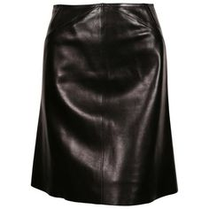 Preowned Azzedine Alaia Black Leather Skirt With Pleated Hemline (€835) ❤ liked on Polyvore featuring skirts, black, leather skirts, alaïa, pleated skirts, real leather skirt and knee length leather skirt
