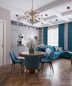 Насыщенный цвет текстиля задает особый настрой всей комнате.