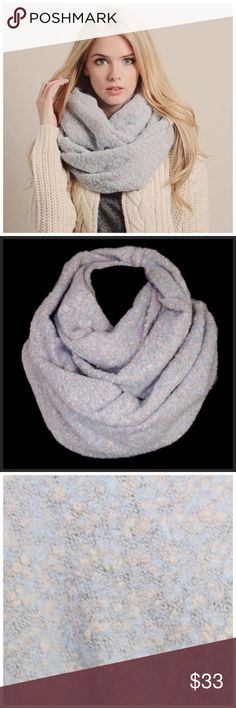 """B140 Soft Blue Beige Marled Knit Infinity Scarf ‼️ PRICE FIRM UNLESS BUNDLED WITH OTHER ITEMS FROM MY CLOSET ‼️   Retail $64  ABSOLUTELY STUNNING & SUPER SOFT!! Dress up any outfit! 100% acrylic. Approximately 34"""" by 23"""" long.  Please check my closet for many more items including jewelry and designer clothing. Accessories Scarves & Wraps"""