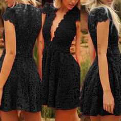 $14.46 Sexy Plunging Neck Short Sleeve Solid Color Women's Lace Dress