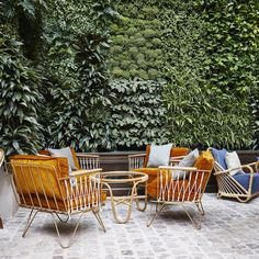 The design team behind Soho House brought an easy retro-cool vibe to The Hoxton Paris with ochre velvet armchairs in the winter garden. garden restaurant The Hoxton, Paris Patio Interior, Yellow Interior, Interior Design, Paris Hotels, Outdoor Spaces, Outdoor Living, Outdoor Decor, Hotel Particulier Montmartre, Beste Hotels