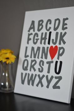 Alphabet I <3 U canvas painting. Perfect decor for home or kid's room. $15.00 on Etsy