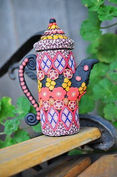 Tall 3D Bohemian Green and Floral Clay Teapot