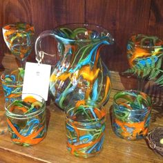 Bright glass ware, reminds me of summer!