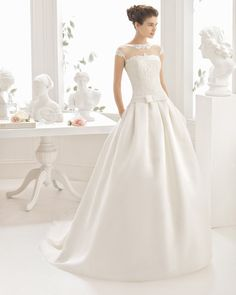 Beaded organza and lace dress, in natural.