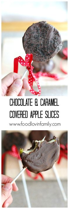 Chocolate and Caramel Covered Apple Slices | http://www.foodlovinfamily.com/chocolate-and-caramel-covered-apple-slices/