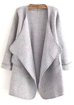 Grey Plain Pockets Long Sleeve Fashion Coat