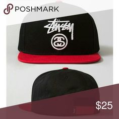 "STUSSY Logo Black & Red Snapback ALL ITEMS FOR SALE Limited Supply Only  Price 1 snapback - $20 or better offer ""SHIPPING NOT INCLUDED""  Brand new, never been worn   Unisex (For Men or Women)  FOLLOW ME & CHECK MY PIX Facebook - imau1987@gmail.com lnstagram - mistah_got_it_all Twitter - @eye_got_all_it_all  ""Paypal Friendly"" as well Stussy Accessories Hats"