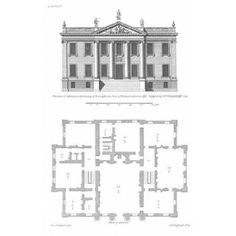 Colin Campbell Stretched Canvas Art - Elevation, Atherton Country House - Medium 12 x 18 inch Wall Art Decor Size. English Architecture, Neoclassical Architecture, Architecture Drawings, Historical Architecture, Architecture Details, Architectural Floor Plans, Vintage House Plans, Georgian Homes, Marquise