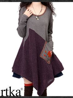 A-line dress colorblock plus size multi-sized oversized knit pocket applique winter fall wool grey purple plum fashion