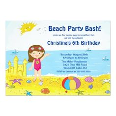 Pool Party Invitations Beach Party Girl Swimming Birthday Invitation