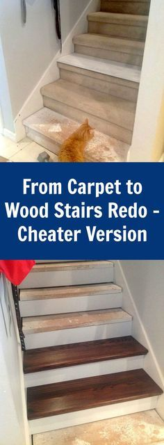 Carpet to wood stairs re-do - this is a cheater version (little scraping / little painting) that uses wood caps on top of your existing stairs. They are called Retro Treads and mine were unstained red oak from Lowe's.