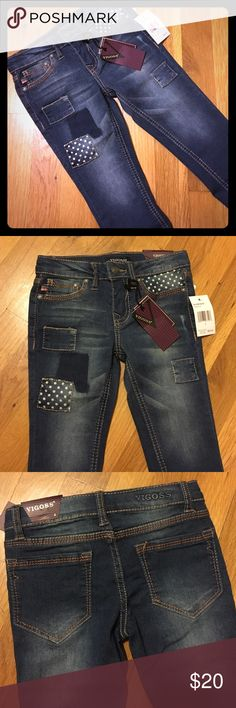NWT Vigoss Patchwork Skinny Jeans Sz 4 Super cute little girls skinny jeans w/ polka dot patches. Please feel free to ask questions... Vigoss Bottoms Jeans