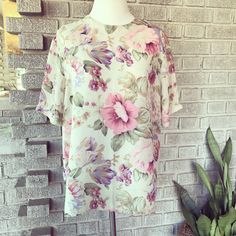 1980's floral sheer blouse (fits up to a large $26) #vintage