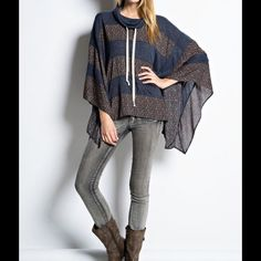 Boho Bohemian Print Poncho Sweater Bohemian inspired️ turtleneck Poncho Sweater. Drawstring neckline. Wide, drippy sleeves.  Brand new without tags. ‼️Please do not purchase from this listing. Pls msg me and I will set up a separate listing with your size & color choice‼️ Sweaters Shrugs & Ponchos