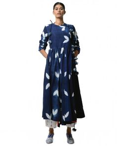 Indigo Blue Crossover Dress - KA SHA - Designers