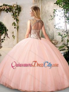 Modest Bateau Peach Quinceanera Dresses with Beading - $223.64