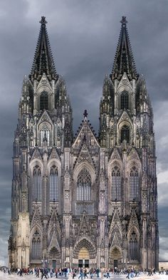 Cologne Cathedral in Cologne Germany. It's the largest church in Germany. Built from in a Gothic style. During it got hit by 14 bombs yet it remained standing with some heavy damage. Gothic Style Architecture, Cathedral Architecture, Sacred Architecture, Amazing Architecture, Religious Architecture, Gothic Cathedral, Cathedral Church, Cologne Germany, Place Of Worship