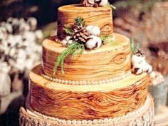 Wedding Cake of the Day: Rustic Wood Cake Elegant Winter Wedding, Rustic Wedding, Wedding Ideas, Forest Wedding, Woodland Wedding, Wedding Photos, Wedding Trends, Wedding Decor, Wedding Inspiration