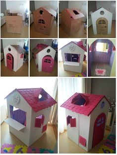 Cardboard houses for kids, cardboard playhouse, cardboard box crafts, toy h Cardboard Houses For Kids, Cardboard Crafts Kids, Diy Cardboard Furniture, Cardboard Playhouse, Cardboard Toys, Diy Playhouse, Cardboard Box Ideas For Kids, Barbie Furniture, Plywood Furniture