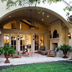 beautiful covered patio with fireplace - great windows/doors, too
