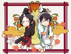 """Hoozuki no Reitetsu ~~ What caused these two to """"fight"""" each other throughout eternity? Judging a contest as symbolized by these flags. :: Hoozuki and Hakutaku"""