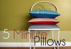 Curbliers, I promise, these are the easiest pillows you'll ever make! I mean, you've got five minutes, right? Let's do this!  Kathleen Dougherty from the amazing blog Grosgrain Fabulous shares this clever method for making simple pillows in a matter of minutes. It's a great way to freshen up your decor and, if you reuse old pillows, extremely cost-effective, too! You will need: an old pillow or a new pillow form fabric pins scissors sewing machine To see how these simple, easy-sew…