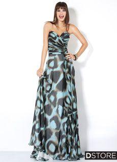 Vestido de Festa Longo Estampado Tomara que Caia Aida 3441 : Dstore Miami, Vestidos de Festa Importados
