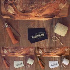 Vintage mock up with old wood, bread, knife, thread bobbin