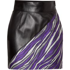 Fausto Puglisi - Leather/Jacquard Mini-Skirt