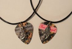 Her Cowboy boot His Angel wing charm guitar pick matching necklaces country love girl guy on Etsy, $25.00