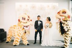 Modern Chinese Wedding with Gold Details   Friar Tux Pinata Party, White Tuxedo, Black Bow Tie, Floral Backdrop, Groom Wear, Floral Crown, Gold Dress, Wedding Designs, Ball Gowns