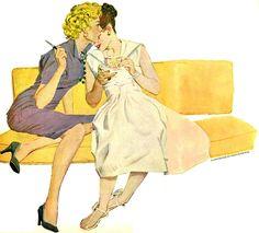 Painting by Austin Briggs Pin Up Illustration, American Illustration, Illustrations, Vintage Lesbian, Lesbian Art, Chicano, Rockabilly, Sketch Inspiration, Pulp Art