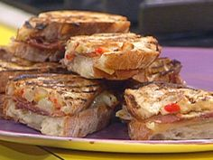 """Charred Spanish Ham and Cheese Melts and """"Hot"""" Olives with Herbs and Spices recipe from Rachael Ray via Food Network"""