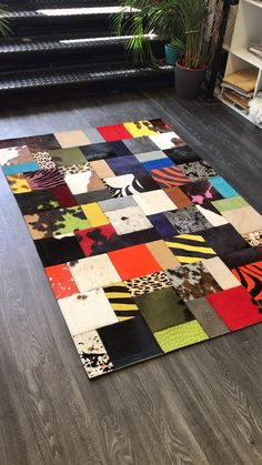 Patchwork Rugs, Patchwork Patterns, Contemporary Rugs, Modern Rugs, Synthetic Rugs, Rug Texture, Rugs On Carpet, Carpets, Cow Hide Rug