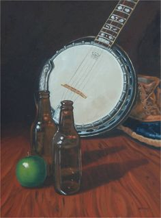 """Banjo and Beer"" by Diane Kraus, Northeastern PA // Love banjos? How about beer?  This rustic still life shows the aftermath of a cabin party... or is it just the beginning?  Original painted in oils on canvasboard. // Imagekind.com -- Buy stunning, museum-quality fine art prints, framed prints, and canvas prints directly from independent working artists and photographers."
