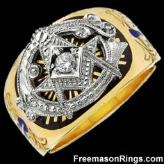 """Gold Two-Tone """"Big G"""" Ring With Diamond"""
