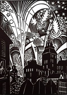 """One of 100 woodcut images by Flemish painter & graphic artist Frans Masereel (1889-1972) for his wordless novel """"The City,"""" published in 1925. via Studio and Garden"""