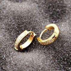 Titanium Steel Semi-circle Inlaid Zircon Hoop Earrings For Women Tiny Stud Earrings, Simple Earrings, Rose Gold Earrings, Women's Earrings, Bridesmaid Earrings, Wedding Earrings, Earring Trends, Bridal Jewelry, Gold Jewelry