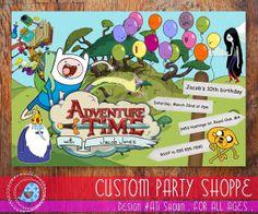 ADVENTURE TIME Birthday Party Invitaiton Kids by CustomPartyShoppe, $7.50